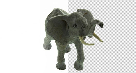 Freistellen von Produktbilder. Hier sehen Sie wie brillant der kleine Elefant freigestellt wurde.